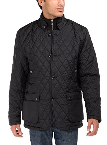 LN LUCIANO NATAZZI Men's Quilted Puffer Jacket with Double Knit Collar (X-Large, Black)