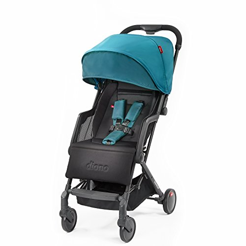 Diono Traverze Lightweight Stroller Plus, Super Compact Travel Stroller for Children from Birth to 45 pounds, Teal