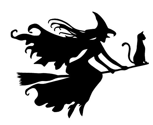 Newclew Beautiful Witch Flying with Cat Halloween Wall Decal Sticker Art Décor (22''W x 17''H)]()