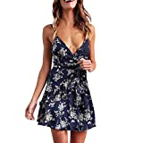 Women's Cute Floral Off Shoulder Ruffle Sleeve Boho Vacation Mini Dress with Belt(Navy,M)