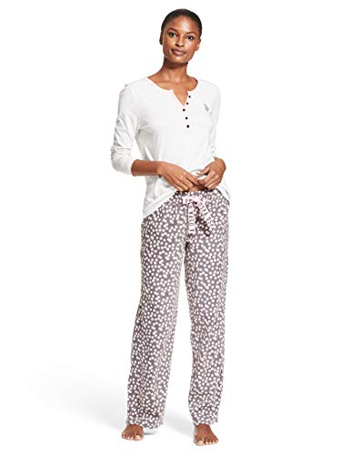 - U.S. Polo Assn. Womens Long Sleeve Shirt and Pajama Pants Sleepwear Set Light Heather Grey X-Large