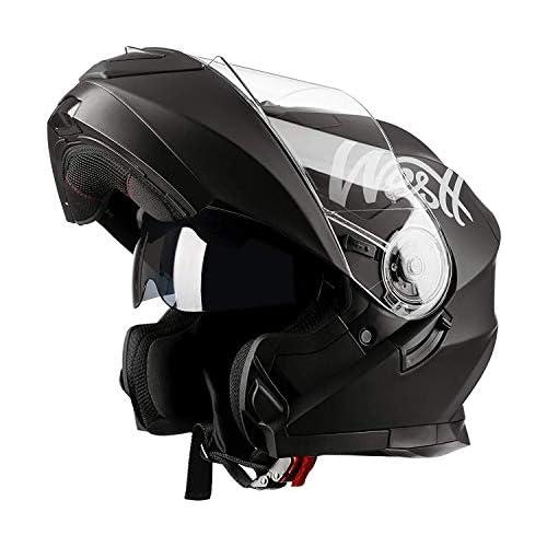 chollos oferta descuentos barato Westt Torque X Casco De Moto Modular Integral con Doble Visera Negro Mate Motocicleta Scooter Absorbe Impacto certificado ECE