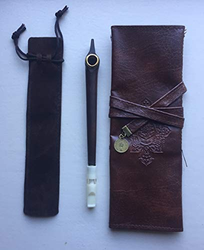 - Classic Wooden Medwakh Pipe/Arabian Dokha wooden Pipe W Leather Brown Case W Velvet Bag ((A3))