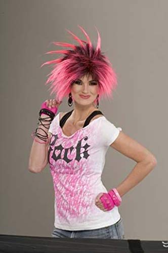 Forum Novelties Women's 80's To The Maxx Bubble Gum Punk Costume Wig, Black/Pink, One Size ()