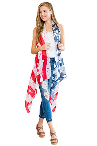 American Flag Patriotic Print Costume - July 4 USA Stars Stripes Open Kimono Cardigan, Shawl Vest, Wrap Scarf (Long Vest - Vintage Flag) -