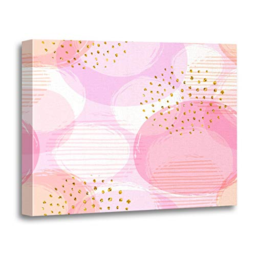 Emvency Painting Canvas Print Wooden Frame Artwork Abstract Geometric Circles and Modern for Interior Users Baby Girl Decorative 20x30 Inches Wall Art for Home Decor ()