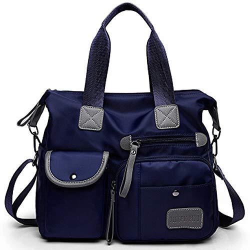 FiveloveTwo Women Ladies Multi Pocket Nylon Hobo Top-handle Bags Shoulder Crossbody Bag Totes Satchels Clutches Handbags and Purses Dark Blue