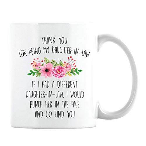 Funny Gift for Daughter-in-law, Daughter In Law Gifts from Mother-in-Law & Father-in-law- Punch her in the face and go find you (White Cup, 11oz) (Father In Law And Daughter In Law)
