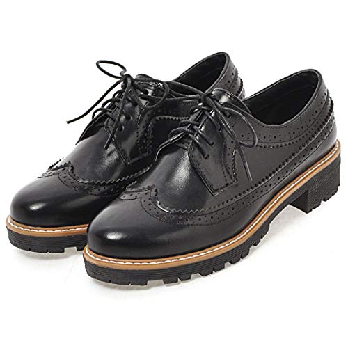 Oxford Cicime up Lace Womens 5cm Flat 16 Brogues Shoes 3 Oxfords black Multicolor Wingtip Black Perforated TrqzETwxn
