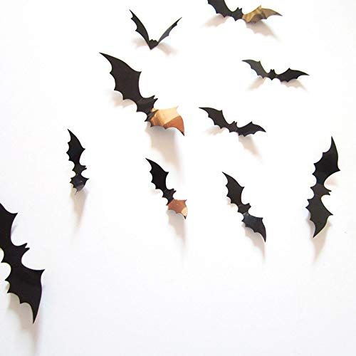 Wall Stickers - 12pcs 3d Pvc Black Bat Wall Sticker Decal Diy Halloween Ghost Festival Door Decoration - Español Kiss Fallen Wars Train About Eyes Has Hockey Trees ()