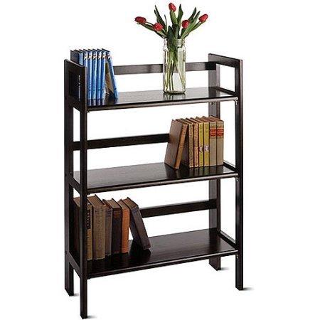 Wood Folding 3-Shelf Bookcase, | Wooden Bookcase Folds Flat For Storing Away (Lawyers Bookcase Hardware)