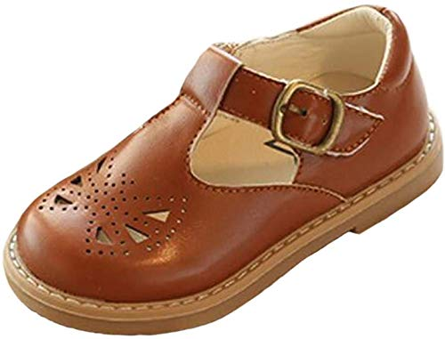 PPXID Toddler Little Girl's Princess British Retro T-Bar Oxford Shoes Mary Jane-Brown 8.5 US Size