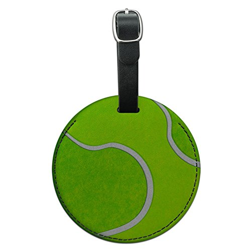 Graphics & More Tennis Ball Round Leather Luggage Id Tag Suitcase Carry-on, Black