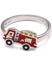 Brandweer auto kinderring, kinderring 925 sterling zilver, jongen sieraden bouwplaats, geschenk zilveren ring rood, brandweerman