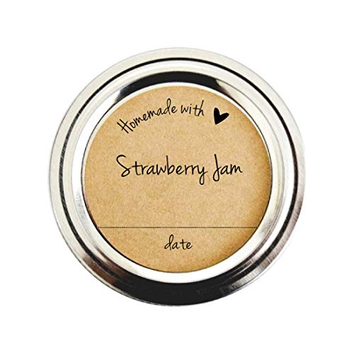 Homemade with Love Strawberry Jam Labels by Once Upon Supplies, Canning Jar Labels for Strawberry Jam & Jelly, 2.5