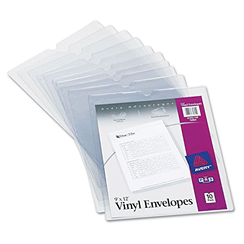 Avery 74804 Top-Load Clear Vinyl Envelopes w/Thumb Notch, 9-Inch x 12-Inch, Clear, - Ticket Holder Job Avery