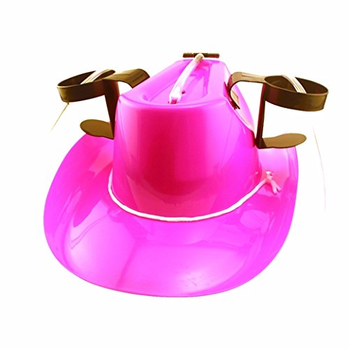 [Pink Cowgirl Drinking Hat] (Drinking Hats With Straws)