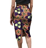 Abetteric Women's with Zip African Print Half Skirt Plus Size OL Bodycon Skirt 3 6XL