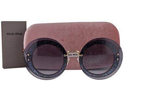 Miu Miu MU10RS Sunglasses Transparent Grey Fabric Glitter Silver w/Blue Gradient Lens UES4R2 SMU 10R SMU10R MU - Miu Sunglasses Round Miu
