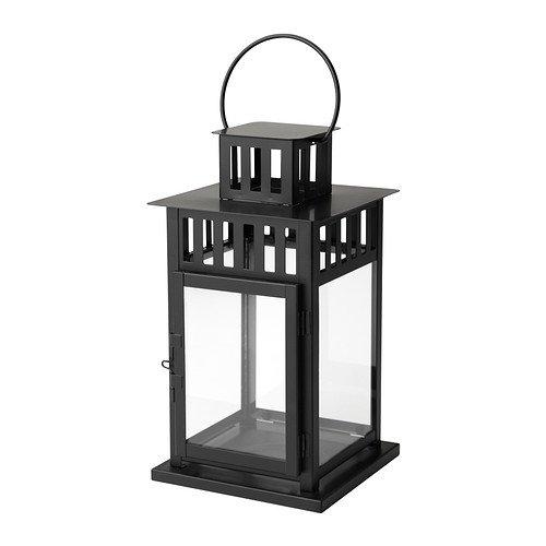 Ikea Borrby - Lanterna per candela, 28 cm, colore nero