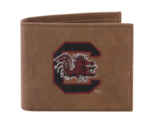 NCAA South Carolina Gamecocks Zep-Pro Crazyhorse Leather Passcase Embroidered Wallet, Light Brown