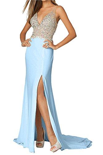 Ballkleider mit Partykleider Abendkleider Blau Himmel V Lang La Ausschnitt Braut Zahlreichen Rot Elegant mia Festlichkleider Steine wnApq0a