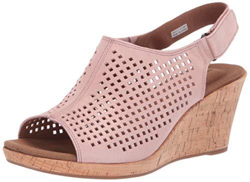 Rockport Women's Briah PERF Sling Wedge Sandal, Pink Metallic, 9 M -