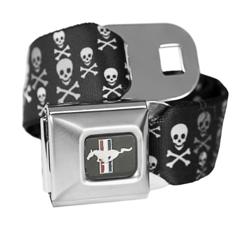 Seat Belt Belt Mustang Ford (Skull Ford Mustang Seatbelt Buckle Fashion Belt - Officially Licensed)