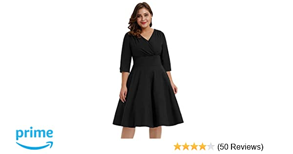 aab27dc6a93 Hanna Nikole Women s Plus Size V Neck 3 4 Sleeve 1950s Vintage Style Party  A-Line Midi Dress Black Size 0X at Amazon Women s Clothing store