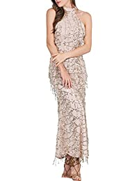 BerryGo Women's Elegant Sequin Tassel Bridemaid Maxi Prom Dress