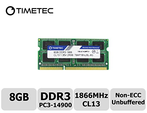 (Timetec Compatible 8GB DDR3L 1866MHz PC3-14900 Unbuffered Non-ECC 1.35V CL13 2Rx8 Dual Rank 204 Pin SODIMM Memory RAM Module Upgrade (8GB))