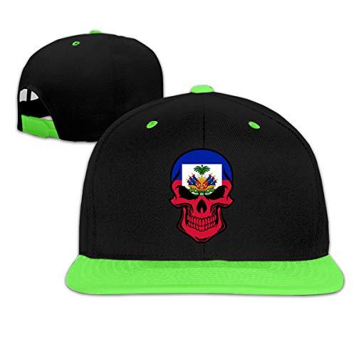 MAKS&&QA/1 Boy's Girl's Adjustable Fashion Fitted Hats Haitian Flag Skull Golf Hats for Under 13 Green -