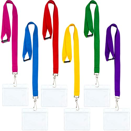 DIY Bright Color Hall Pass Lanyards with Badge Holders Set of 6