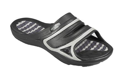 AQUA-SPEED hombres zapatillas flip flop zapatos muy fácil Tahití 461-07 (negro/gris, 39) negro/gris