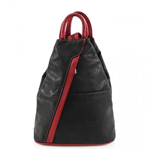 Backpacks Pelle Red Black Italian Women School Rucksacks Leather Girls Vera Soft Gym VPR244 Ladies Bags TxwaSqFy