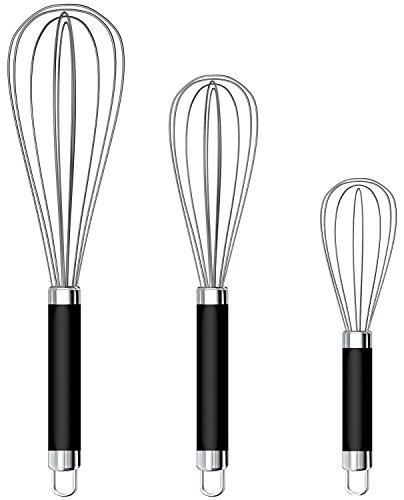 Set of 3 Stainless Steel Whisk 8+10+12, Kitchen Balloon Hand Stainless Whisk Set for Blending Whisking Beating Stirring by Ouddy