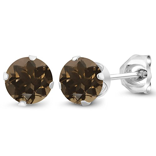 - Gem Stone King 0.92 Ct 5mm Round Shape Brown Smoky Quartz 925 Sterling Silver Stud Earrings