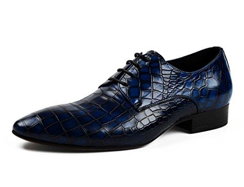 Herren Lederschuhe Herren Lederschuhe wies Spitze Breathable Single Schuhe Herrenschuhe ( Farbe : Schwarz , größe : EU43/UK8 ) Blau