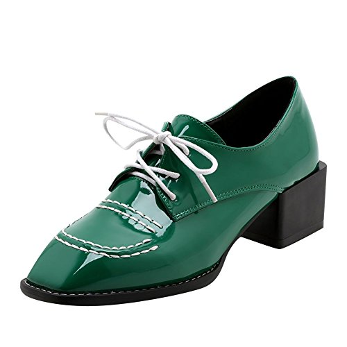 Square Chunky Green Oxford Dark Latasa Toe Shoes Heel Women's wZCnqOp7