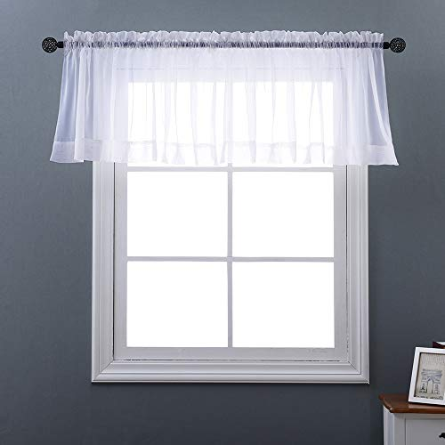 NICETOWN Voile Sheer Curtain Valance - Plain Sheer Window Valance Curtain Panel for Small Window (Single Piece, W60 x L20, White)