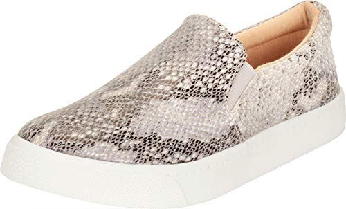 Cambridge Select Women's Classic Round Toe Stretch Slip-On Flatform Fashion Sneaker (8.5 B(M) US, Beige Python PU)