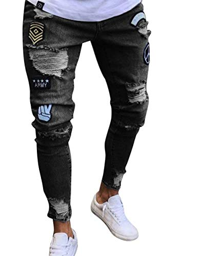 Stretch Fit Pantalones Jeans Chern Negro Mezclilla Pantalones Hombres De Destruido Skinny with Casual Denim Pants Slim De Stretch Holes Los 667qv