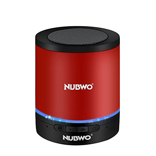 NUBWO A3 Wireless Portable Mini Bluetooth Speaker, CSR 4.0, With Multi-Function Stereo, Hands-free Call, 3.5mm AUX, TF Card Slot, LED Light, For iPhone, iPod, iPad, Samsung, Smartphone, tablet (Red) by NUBWO