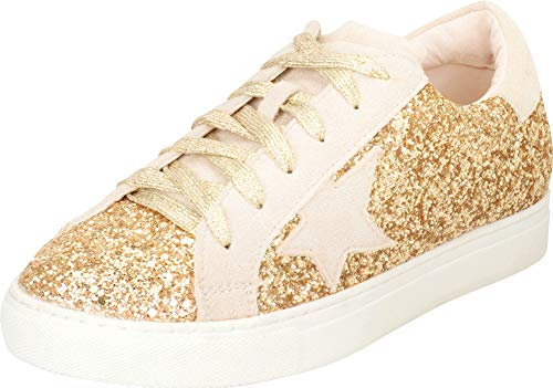 Cambridge Select Women's Low Top Round Toe Star Lace-Up Fashion Sneaker,7 B(M) US,Gold Glitter