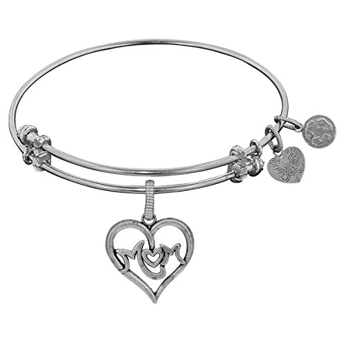 Angelica Collection M-Heart-M Mom Charm Adjustable Bangle Bracelet -  GELZ1776-W