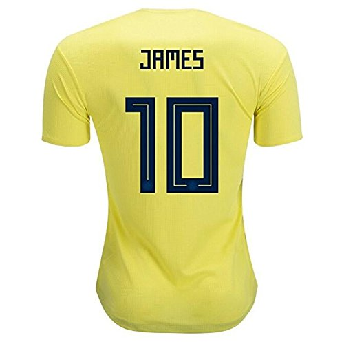 Colombia National Team #10 James Rodriguez Men's Soccer Jerseys Yellow Size M