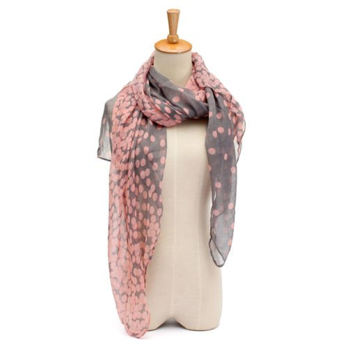 Long Sleeve Voile (Cotton Women Girl Long Dot Scarf Wraps Shawl Voile Stole Soft Autumn Winter NEW)