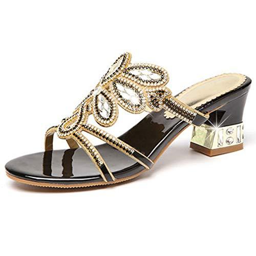 d'été noir chaussons diamants pour Vente paillettes talons femmes diamants avec hauts sandales violet et de strass 38 xnPwqaH0p