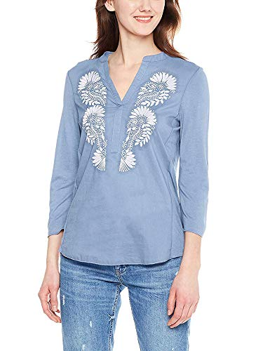 Spicy Sandia Embroidered Blouses for Women V-Neck Casual Tunic Top Shirt with 3/4 Roll-up Sleeve, Blue, Large Size