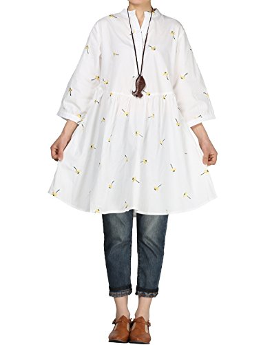 Mordenmiss Women's Notched Embroidery Half Dress Button Down Flared Blouse Tunic 2XL ()